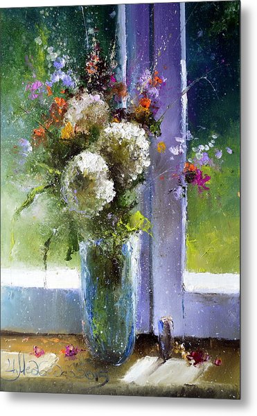 Bouquet At Window Metal Print
