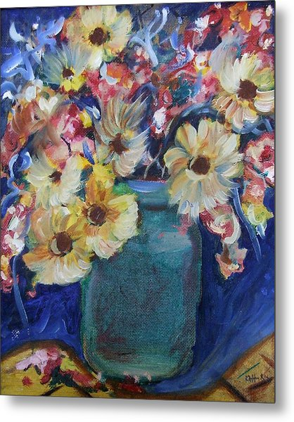 Bouquet Flowers Of Blue  Metal Print