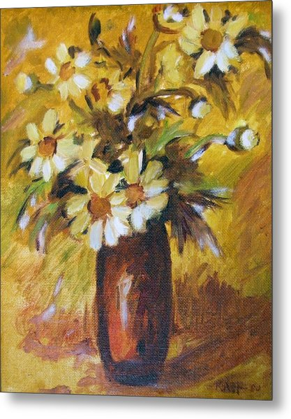 Bouquet Flowers Of Gold Metal Print