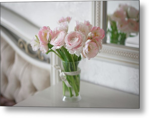 Bouquet Of Delicate Ranunculus And Tulips In Interior Metal Print