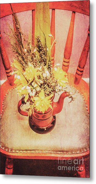 Bouquet Of Dried Flowers In Red Pot Metal Print
