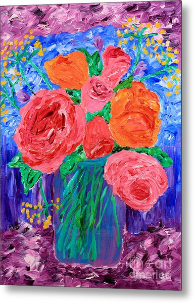 Bouquet Of English Roses In Mason Jar Painting Metal Print