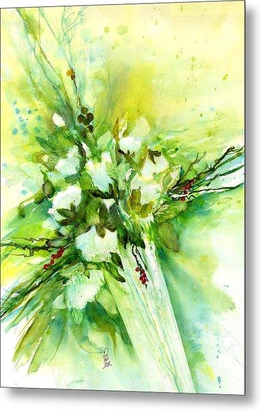 White Roses In Vase Metal Print