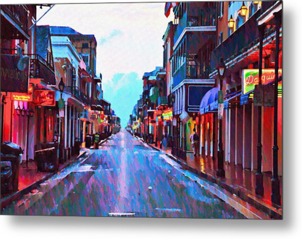 Bourbon Street At Dawn Metal Print