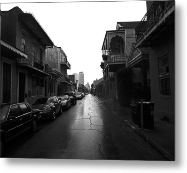 Bourbon Street In The Rain Metal Print