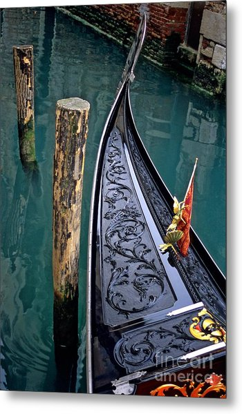Bow Of Gondola In Venice Metal Print by Michael Henderson