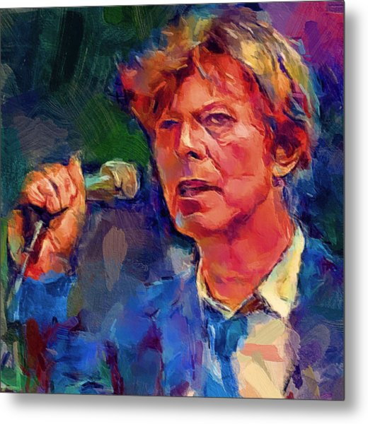 Bowie Singing 2 Metal Print