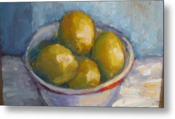 Bowl Of Lemons Metal Print
