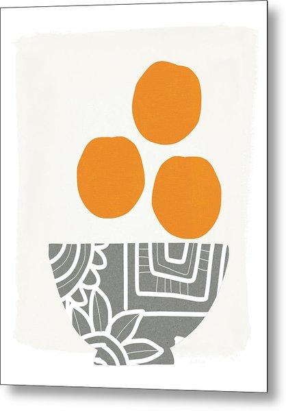 Bowl Of Oranges- Art By Linda Woods Metal Print