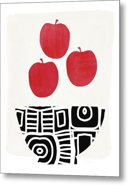 Bowl Of Red Apples- Art By Linda Woods Metal Print