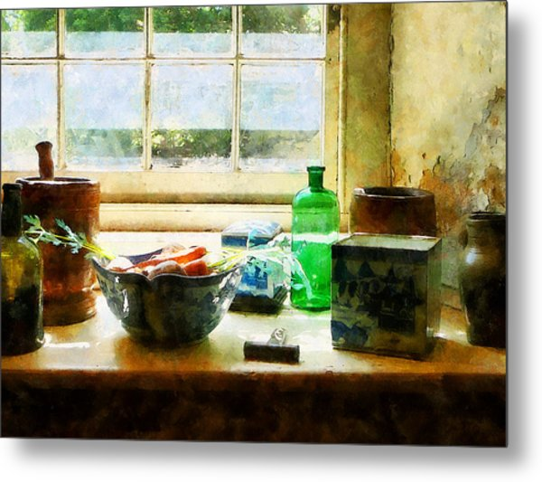 Bowl Of Vegetables And Green Bottle Metal Print