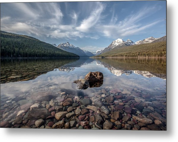 Bowman Lake Rocks Metal Print