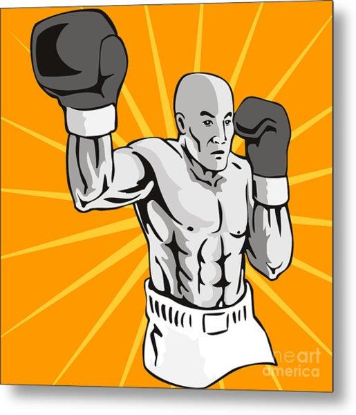 Boxer Boxing Knockout Punch Retro Metal Print