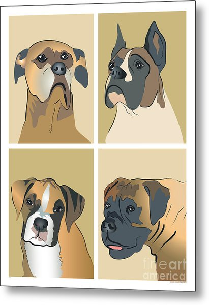 Boxer Dogs 4 Up Metal Print
