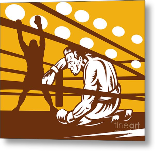 Boxer Down On His Hunches Metal Print
