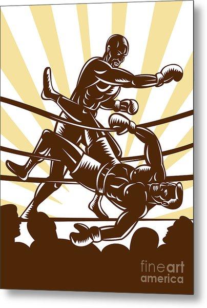 Boxer Knocking Out Metal Print