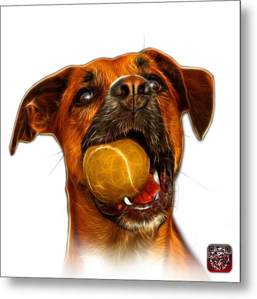 Metal Print featuring the digital art Boxer Mix Dog Art - 8173 - Wb by James Ahn