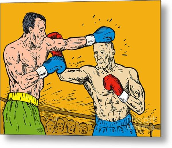 Boxer Punching Metal Print
