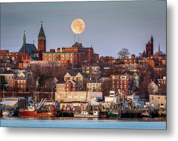 Boxing Day Moon Over Portland Maine  Metal Print