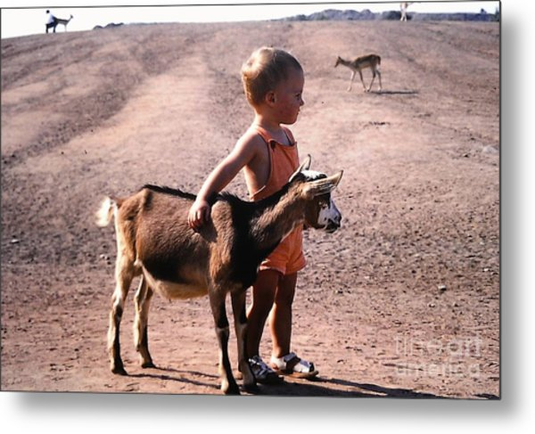 Boy And A Goat Metal Print