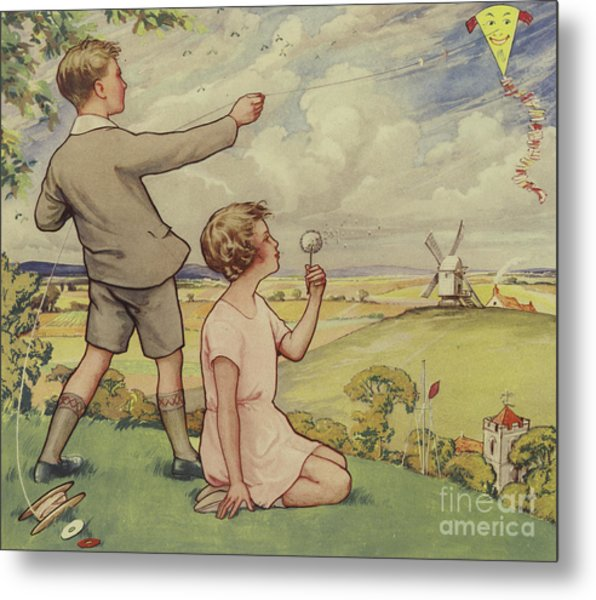 Boy And Girl Flying A Kite Metal Print