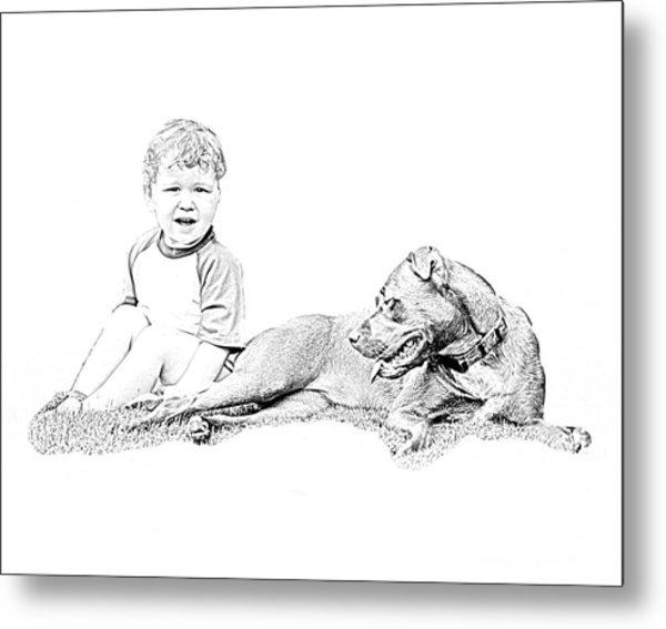 Boy And His Dog Metal Print by Ralph  Perdomo