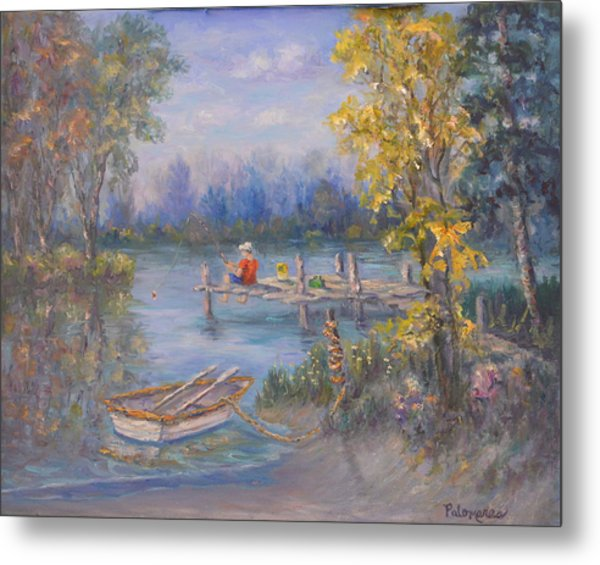 Boy Fishing On Dock And Boat On Lake Metal Print