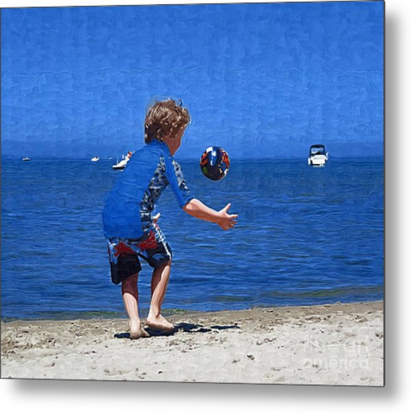 Boy On The Beach Metal Print by Deborah Selib-Haig DMacq