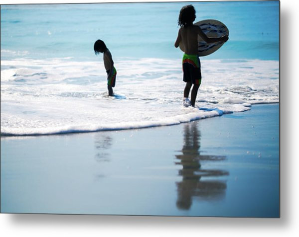 Boy On The Beach With Surf Board,skimboard,and Wave From The Pac Metal Print