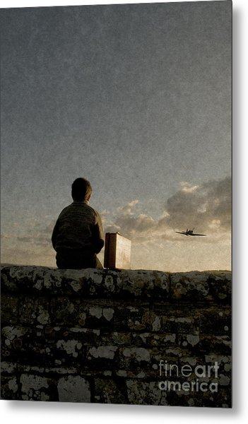 Boy On Wall Metal Print