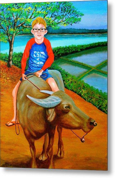 Boy Riding A Carabao Metal Print