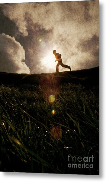 Boy Running Metal Print