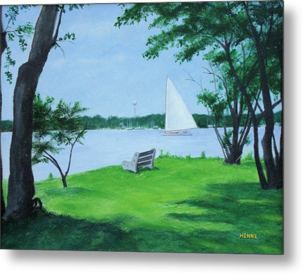 Metal Print featuring the painting Boy Scout Island by Robert Henne