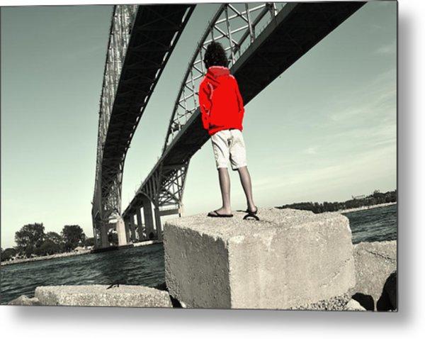 Boy Under Bridge Metal Print
