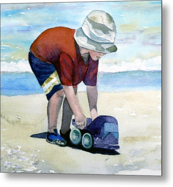 Boy With Truck Metal Print