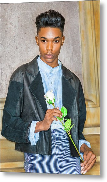 Metal Print featuring the photograph Boy With White Rose 15042618 by Alexander Image