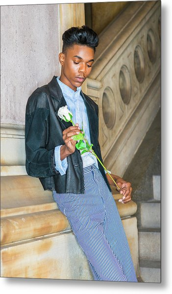 Metal Print featuring the photograph Boy With White Rose 15042622 by Alexander Image