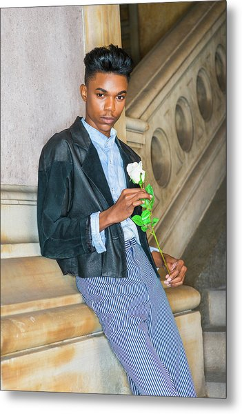 Metal Print featuring the photograph Boy With White Rose 15042623 by Alexander Image
