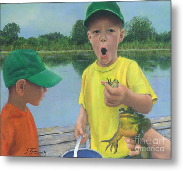 Boys And Frogs Metal Print