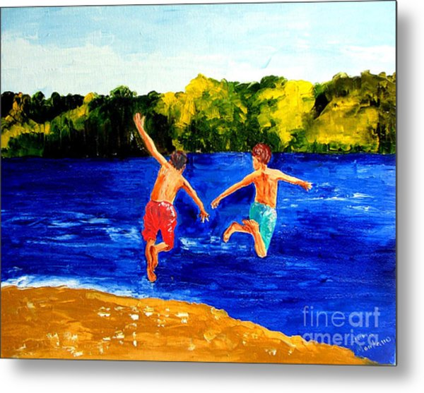 Boys By The River Metal Print by Inna Montano