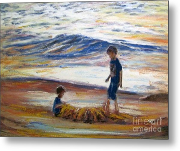 Boys Playing At The Beach Metal Print