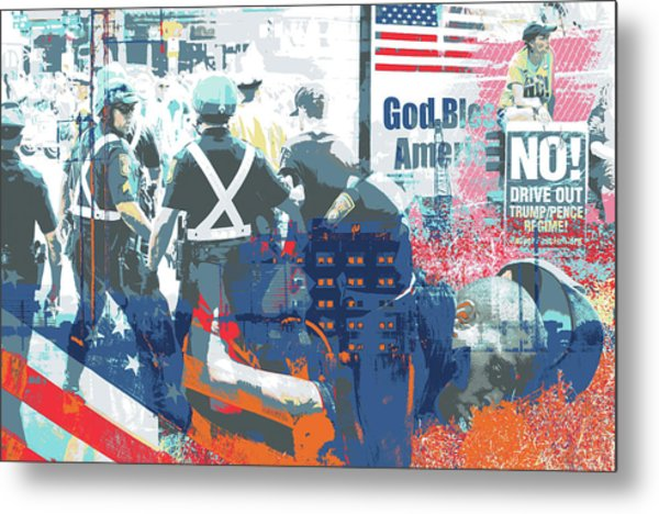 Boston Police Busted Metal Print by Shay Culligan