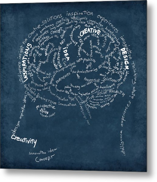 Brain Drawing On Chalkboard Metal Print