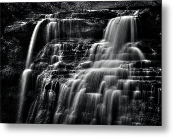 Brandywine Falls At Cuyahoga Valley National Park B W Metal Print