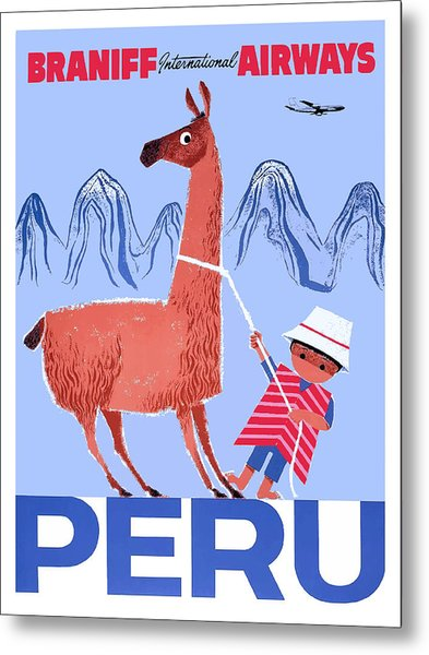 Braniff Airways Peru Child And Llama Travel Poster Metal Print