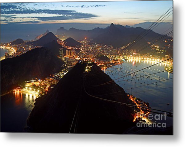 Metal Print featuring the photograph Brasil,rio De Janeiro,pao De Acucar,viewpoint,panoramic View,copacabana At Night by Juergen Held