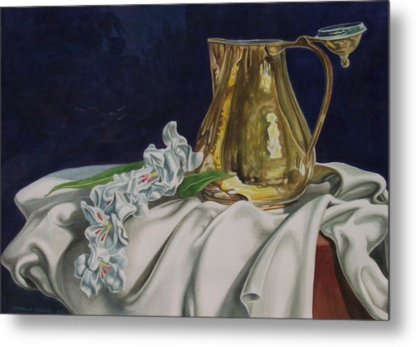 Brass And Flowers Metal Print by Arnold Hurley