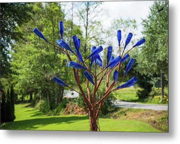 Brass Tree, Blue Bottle Leaves Metal Print