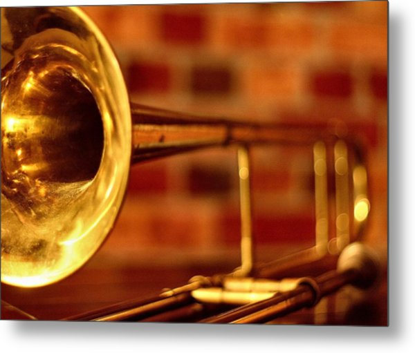 Brass Trombone Metal Print