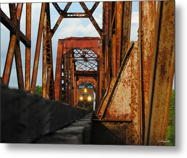 Brazos River Railroad Bridge Metal Print